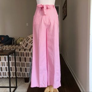 Vintage Pink Linen High Rise Paper Bag Trousers